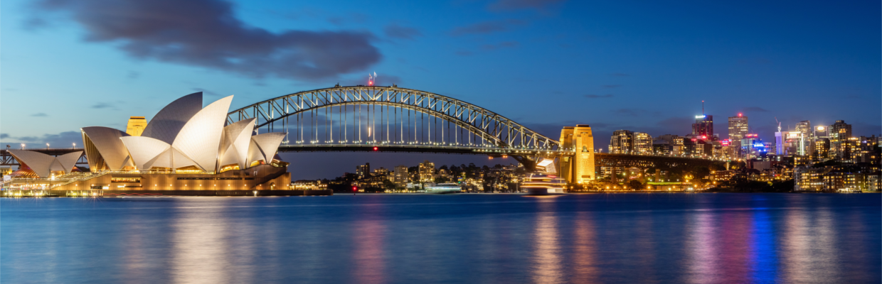 Sydney harbour night view; image used for moving to Australia page.