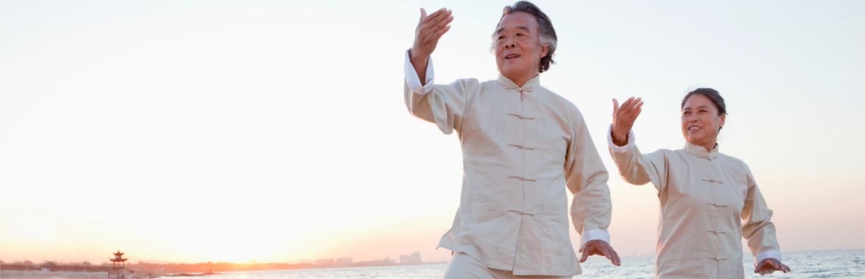 An old couple is playing tai chi; image used for HSBC Australia Term Deposit Accounts page.