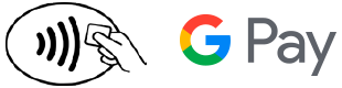 Icon of contactless payment and logo of Google Pay