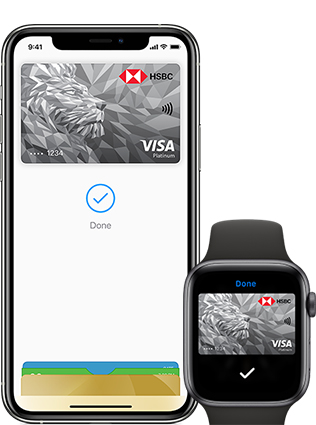 Apple pay with HSBC card on iPhone and Apple Watch.