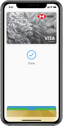 Apple pay with HSBC card on iPhone.